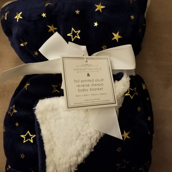 """NWT Baby Gap NAVY BLUE Velour with White Sherpa Blanket 30/"""" x 40/"""" Free US Ship"""